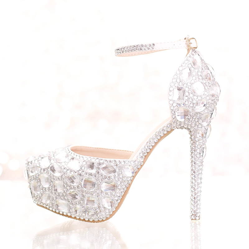 ФОТО Big crystal bride shoes 12cm/14cm high heel round toe pumps ankle strap dress shoes women wedding shoes free shipping