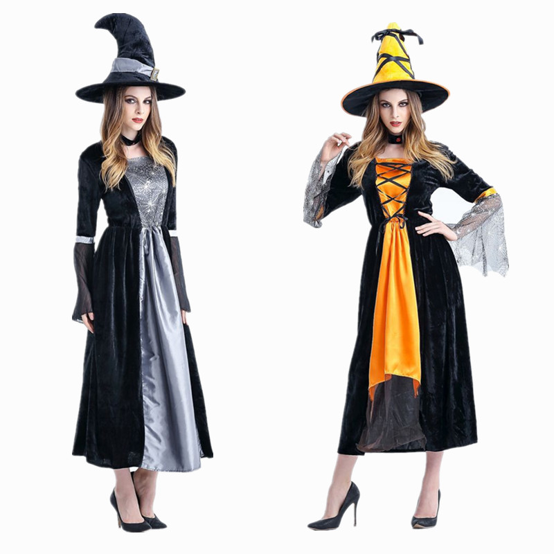 Halloween Costumes Witch Costume Women Adult Adulto Fantasia Dress Hat Deluxe Cosplay Clothing for Woman Magic Moment
