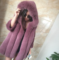 Fox fur coat Hooded Natural color  Woman's fur coat Customized