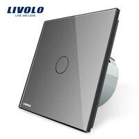 Livolo EU Standard Touch Screen Wall Light Switch Grey Color AC 220 250V VL C701 15