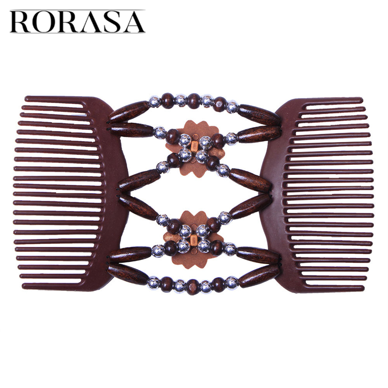 Double Beaded Hair Magic Comb Clip Beads Elasticity Hairpin Stretchy Hair Combs For Women Hair Accessories Hair Brush Beard Comb
