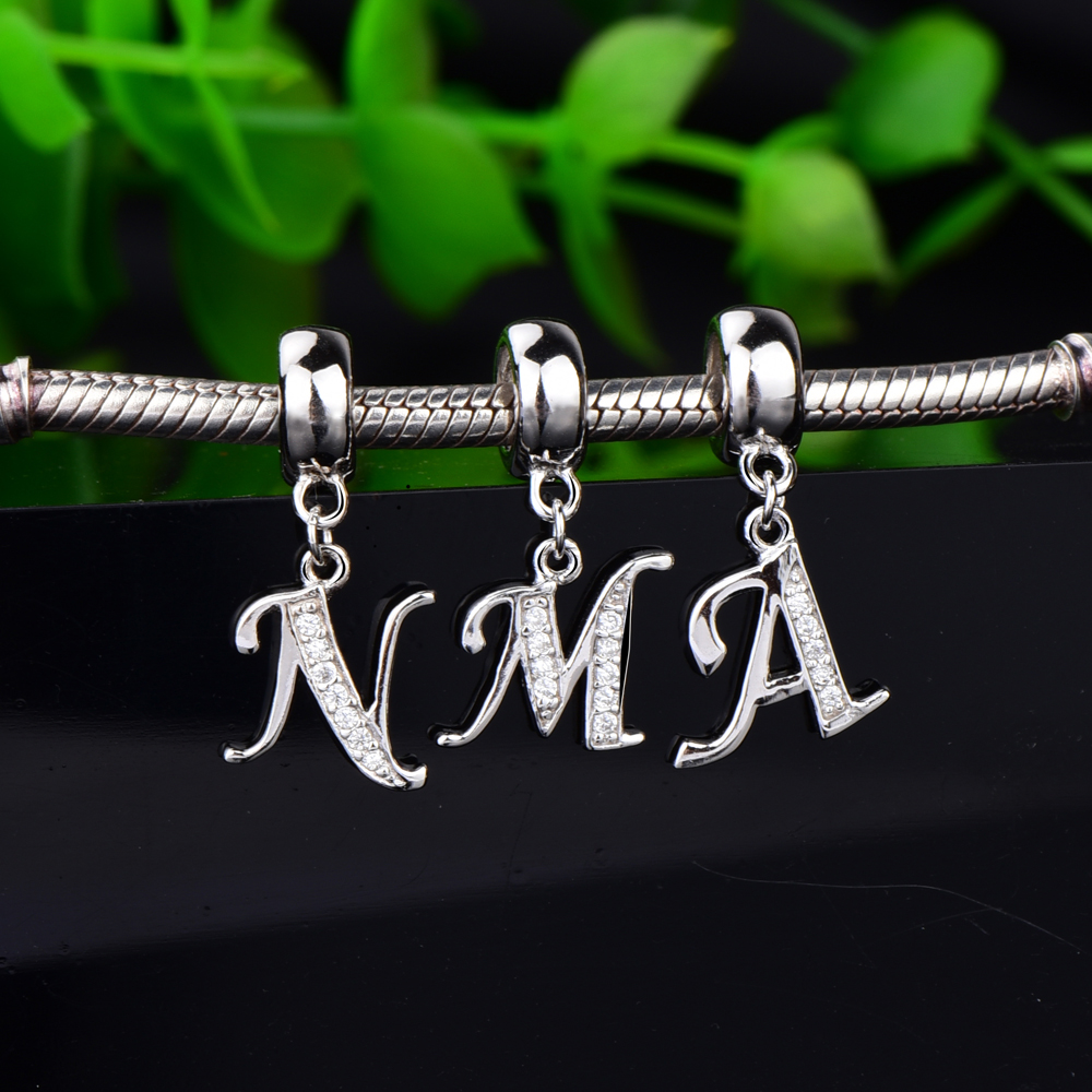 Original 925 sterling silver Charms capital letter beads A - Z with Cubic zirconia fashion Jewelry Fit Pandora Bracelets цена