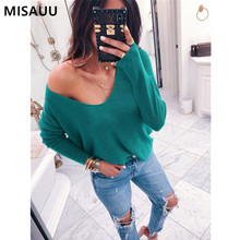 MISAUU Sexy V-Neck Off Shoulder Long Sleeve Black Sweater Women Jumpers Pullovers Ladies Tops Knitted Sweaters Pull Femme