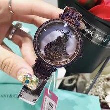 Lucky Watch Lady Wrist Crystal Watch Women's Rotate Hours Top Fashion Dress Bracelet Luxury Rhinestones Bling Girl Birthday Gift