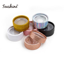 Soft 3D Mink Eyelash Round Box 10pcs Empty Boxes For False Eyelashes Extension Sticker logo Full Strip Lashes Glitter