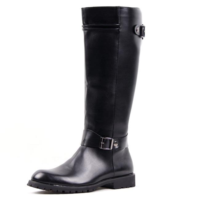 Británico Sólido Hasta La Rodilla Martin Botas Para Hombre Hebilla de Metal Zapatos de Plataforma Pisos de Calidad de Ocio de Moda Masculina Casual Botas Hombre Negro