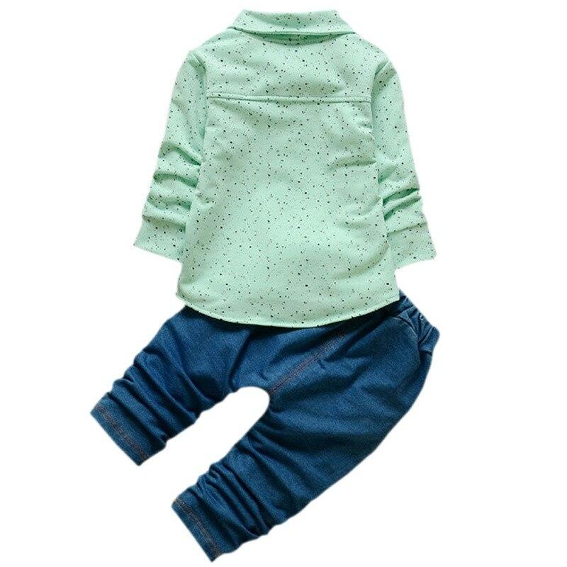 2 шт. одежда для малышей Одежда для мальчиков Комплекты одежды с мультяшными рисунками галстук-бабочка Футболки в крапинку + Джинсы для женщ...