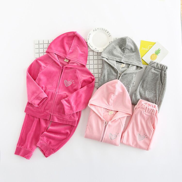 New lovely color Girls Suits Sports Children's Clothing Sets Spring,autumn Suit Set Girl Long Sleeve Sets children's clothing 2017 new style spring autumn hoodie baby girl clothing set sequin lace long sleeve velour sports jacket long trousers outfits