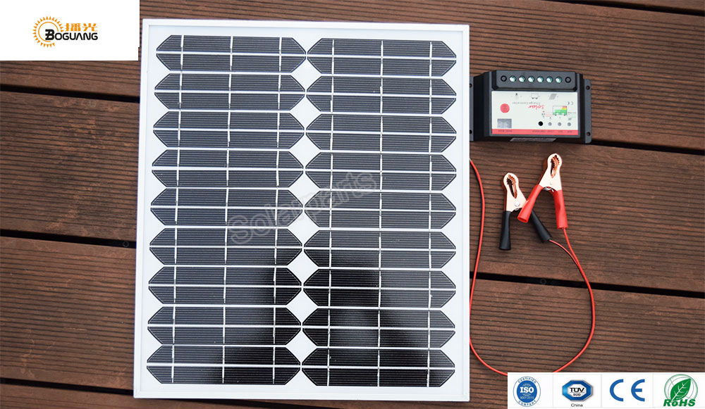 BOGUANG 20W 18V solar panel +10A controller+cables mono cell glass Laminated Alu Frame module DIY solar charger for outdoor boguang 40w monocrystalline solar module by mono solar cell factory cheap selling 12v solar panel for rv marine boat use
