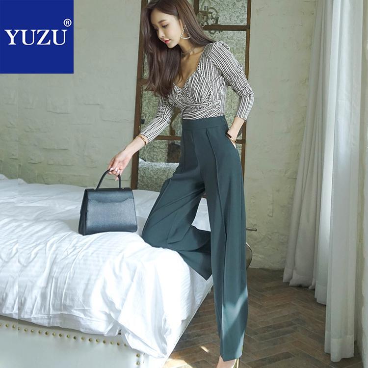 Crop Top And Pants Set Women Summer Autumn Elegant V Neck Long Sleeve Print Blouse And Dark Green High Waist Wide Leg Long Pants
