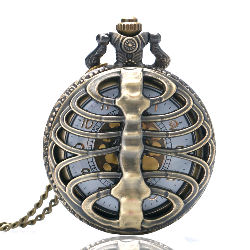 2014 New Bronze Spine Ribs Hollow Quartz Antique Pocket Watch For Men And Women P105