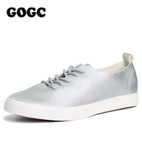 GOGC 2017 New Slipony Women Black White Leather Casual Shoes Women Flats Shoes Breathable Sneakers Walking