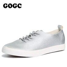 GOGC 2017 Slipony Frauen Schwarz Weiß Leder Freizeitschuhe Schnüren Sich Oben Schuhe Frauen Wohnungen Schuhe Breathable Frauen Vulkanisierte Schuhe