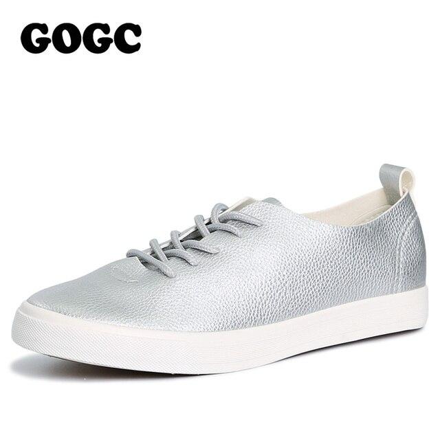 GOGC 2018 Slipony Women Black White Leather Casual Shoes Lace Up Footwear Women Flats Shoes Breathable Women Vulcanized Shoes