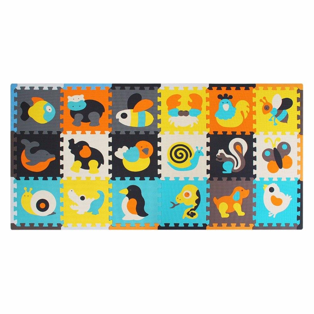 18 шт. с длинными краями детский Поролоновый ковер детский игровой коврик из пеноматериала Eva коврик-Паззл Детские мозаичные игрушки для ползания плитки