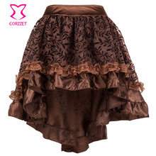 Vinatge Victorian Floral Flocking Tulle and Ruffled Satin Lace Asymmetrical Steampunk Skirt Women Corset Gothic Skirts Womens