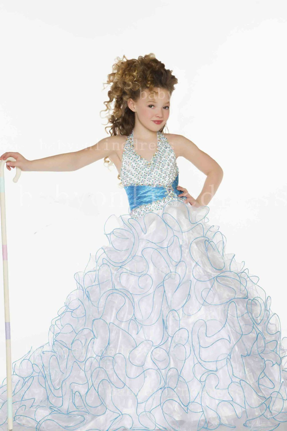 Hot New Little   Girl's   Pageant   Dresses   White & Blue Summer   Flower     Girl     Dresses   for Weddings Vestidos De Comunion 48004S