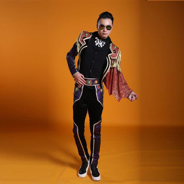 España estilo de trajes de hombre ropa desgaste de la Etapa set pantalones chaqueta masculina cantante dj discoteca traje palacio vestido de parte del Circo ropa