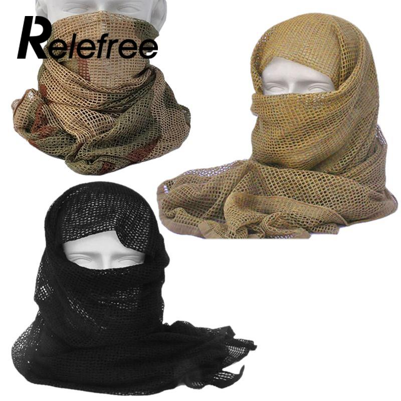 Relefree Tactical Camouflage Scarf Mesh Outdoor Breathable Headband Mesh Scarf Outdoor Jungle Muffler Men Camping Hiking Scarf