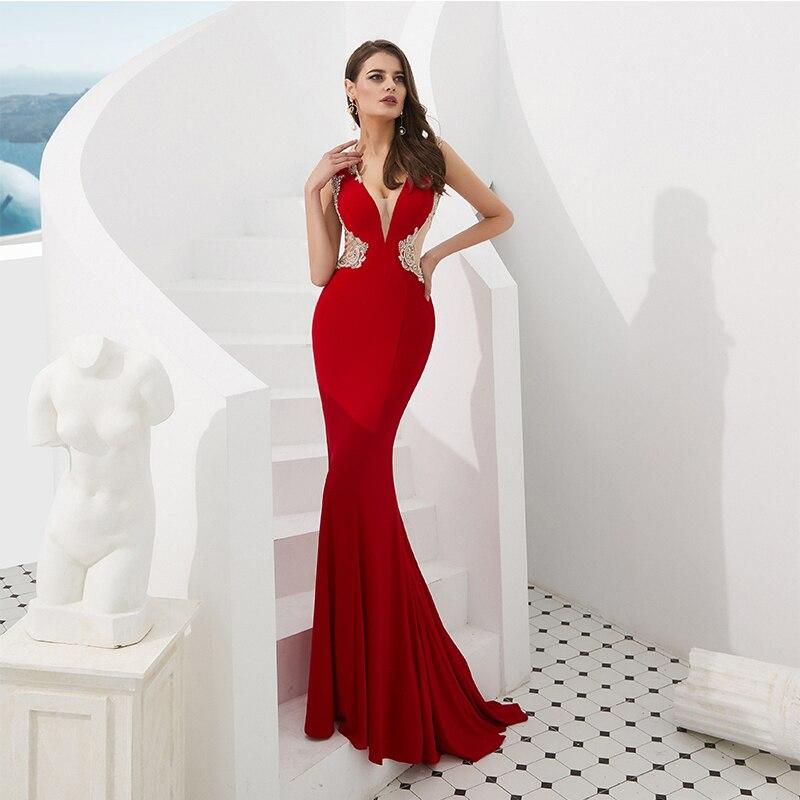 Robe de bal rouge Style sirène 2019 haute qualité Design spécial Sexy col en v sans manches mince robe de fête de bal robes