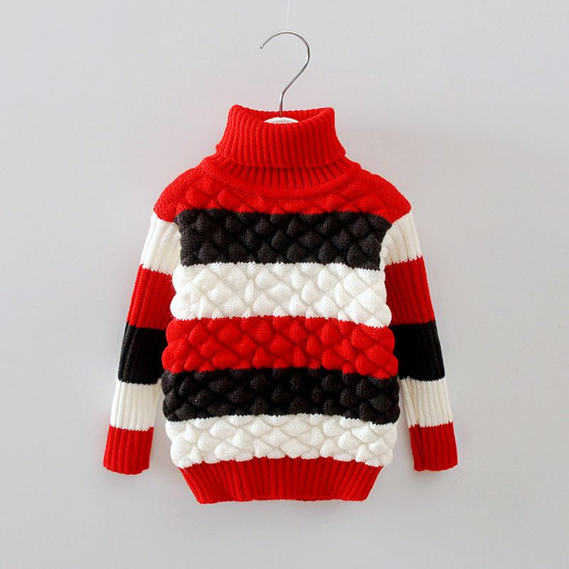 Autumn Winter Baby Girls Boys Cotton Striped Long Sleeve Turtleneck knitting Sweaters Tops