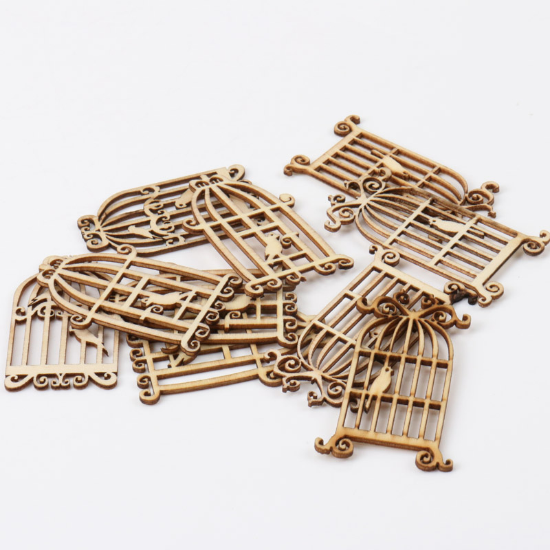 Natural Birdcage Pattern Wooden Scrapbooking Art Collection Craft For Handmade Accessory Sewing Home 52x34mm 24pcs/1set MZ161-FD