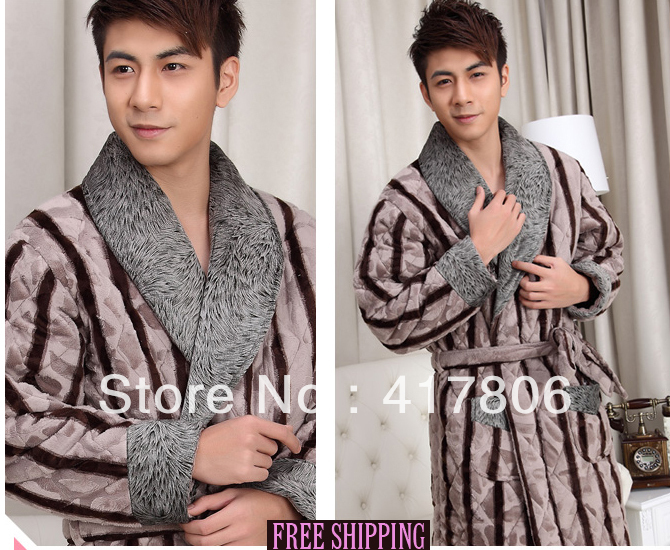 Luxury CORAL FLEECE Top gown Thick warm men s home cotton Nightgown  Successful man high quality pajamas 988cf9da88f4