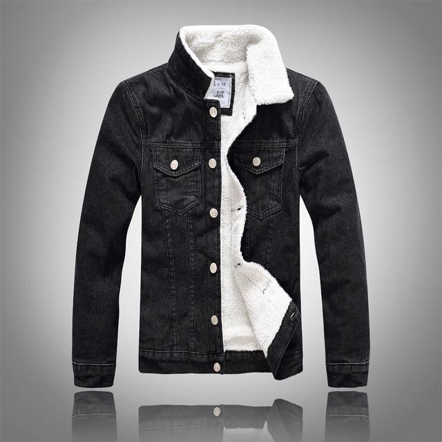 2c203b7c1201 hot sale Winter Mens Plus velvet Cotton Denim Jacket Male Thick Warm Lined  Fleece Jeans Jackets black slim jeans coat Top M-5XL