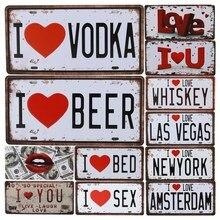 I Love Vodka Beer Plate Metal Car Number Tin Signs Bar Pub Cafe Home Decor Sign Man Cave Garage Painting Plaques C13
