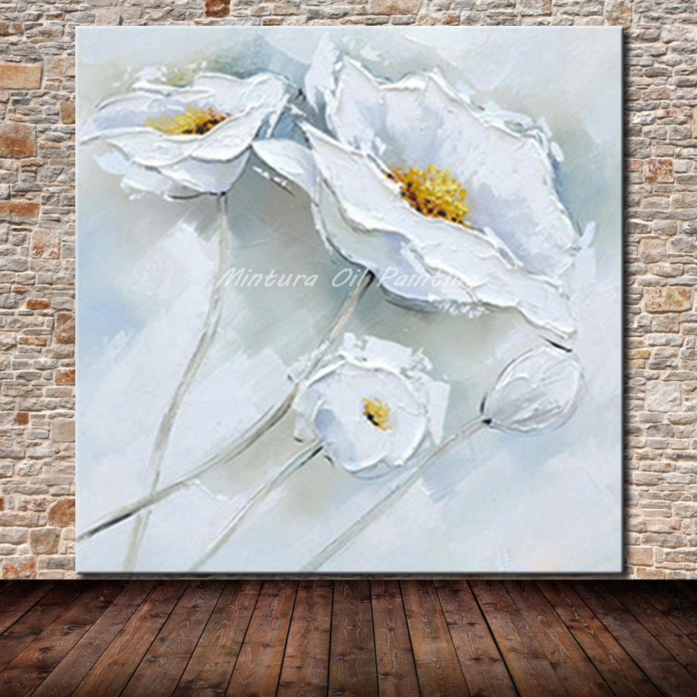 Mintura Paintings Hand Painted White Flower Oil Painting On Canvas