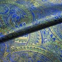 Blue Green Gold Palace Gorgeous Gorgeous Wind Brocade Fabric Silk Satin Fabric R 100CM 70CM