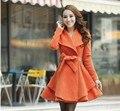 2016 зима отложным воротником средней длины шерсти пальто шерстяное женская верхняя одежда тонкий шерстяной Смеси пальто Бесплатно доставка