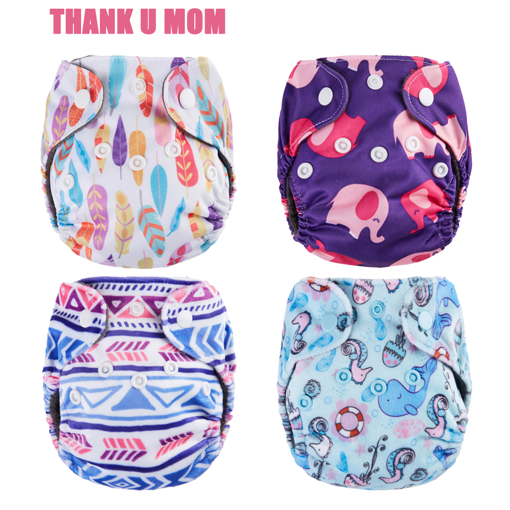 Thank U Mom NB Pocket Cloth Diapers Newborn Baby Diaper Charcoal Bamboo Inner Waterproof Minky PUL Outer Fit 3-5kg Babies