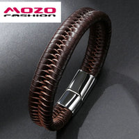 5PCS FASHION Men Brand Stainless Steel Magnetic Clasps Bracelets Bracelet Leather Rope Chain Bracelet Trendy Men