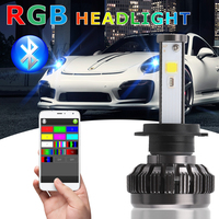 Car Styling LED Headlamps Car Bluetooth RGB LED Headlights H4 H7 LED Bulbs APP Control Colorful