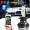 Car Styling LED Headlamps Car Bluetooth RGB LED Headlights H4 H7 LED Bulbs APP Control Colorful