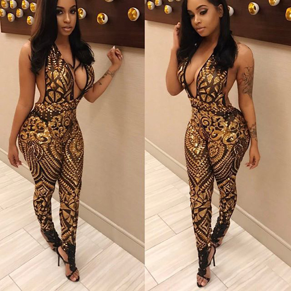 2017 New Fashion Women Sexy Skinny party Jumpsuits Ladies Casual Night Club bodysuits Sequined Playsuits Summer Vesitdos Rompers