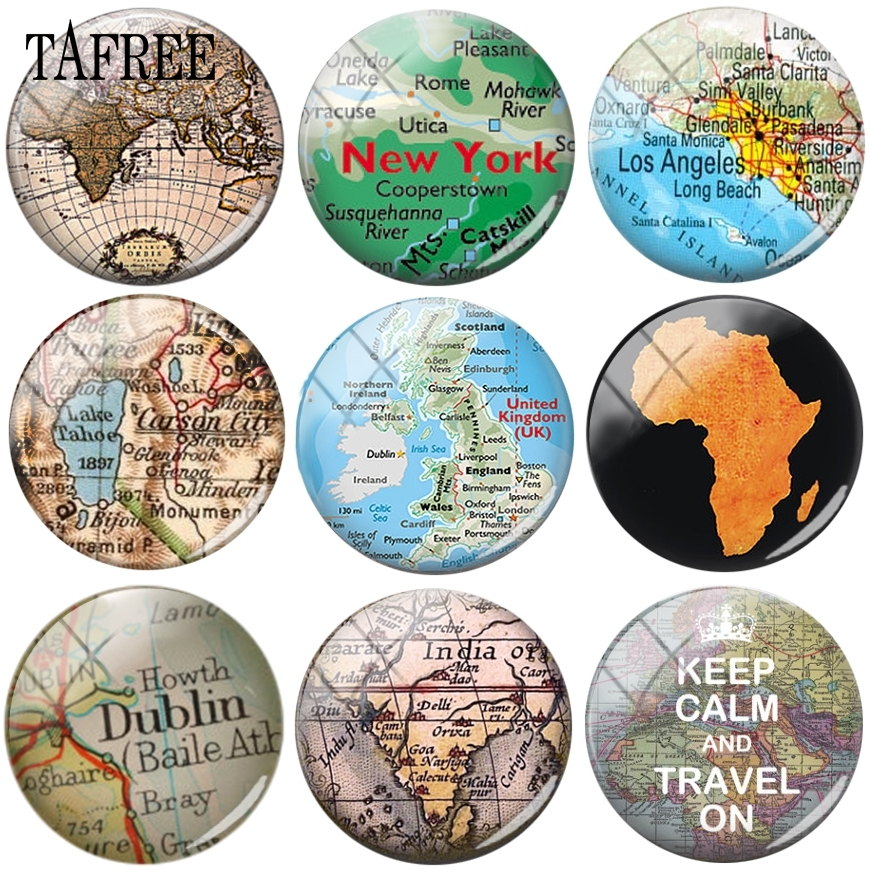 TAFREE Keep Calm And Travel On Map Of The World Round Shape Glass Cabochon Charms DIY Accessories Cameo Pendant Settings