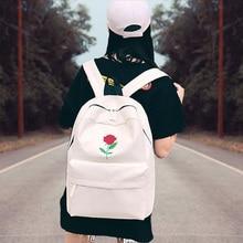New Rose Embroidered Backpacks Women Custom Zipper Canvas Backpack School Season Childrens Bag  High school student bag