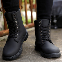 Men boots zipper short plush snow bootsfor men round toe wear resistant non slip martin boots 2018 fashion autumn