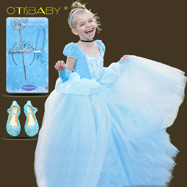 S Blue Ball Gown New Movie Princess Cinderella Cosplay Costume Fairy Tail Children Wedding Party Elegant