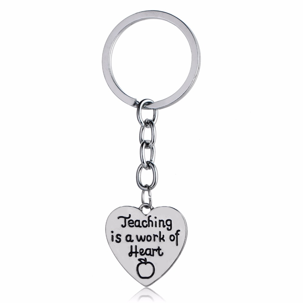 Bespmosp 12PC/Lot Apple Teaching Is A Work Of Heart Pendant Keychain Keyring Charm Chain Jewelry Teachers Day Fashion Gifts
