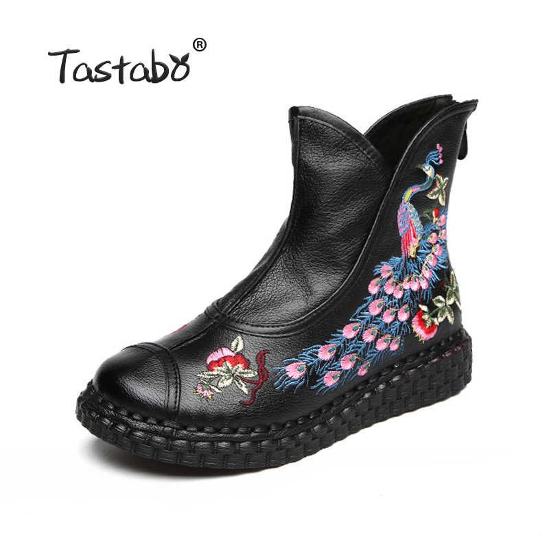 Tastabo Sonbahar Çizmeler yarım çizmeler El Yapımı kadın düz ayakkabı Rahat kadın ayakkabısı Bayanlar Tavuskuşu nakış Kadınlar için