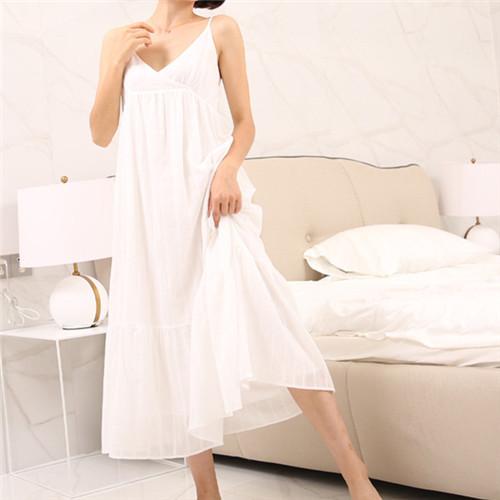 2017 Sono Verão Salão Camisola De Algodão Branco da Casa Do Vintage Vestido Sem Mangas Com Decote Em V Princesa Sono Vestido Sleepwear