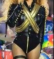 2016 nova mulheres sexy trajes preto roupas de dança de desempenho boate bar menina cantora DJ DS prom