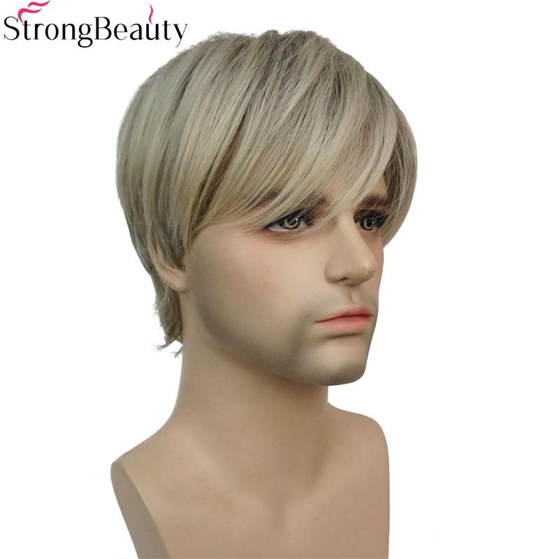strongbeauty short synthetic men wigs mix blonde full heat