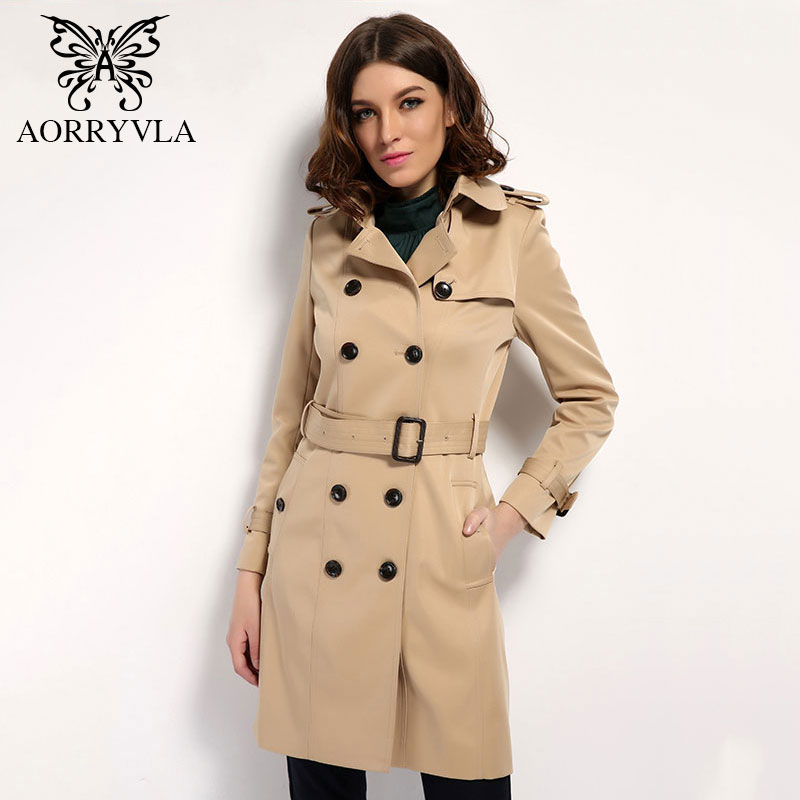 AORRYVLA 2018 Autumn Classic Double Breasted Women s Trench Coat Street Adjustable Waist Turn Down Collar