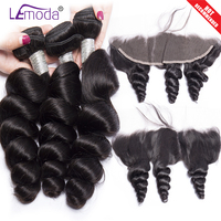 LEMODA hair Loose wave bundles with lace frontal closure pre plucked Remy human hair weave Peruvian hair 3 bundles with frontal