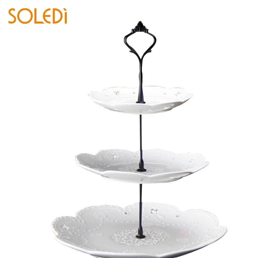 Металлическая подставка для торта с короной для свадебной вечеринки, посуда для выпечки, подставка для торта, 2/3 - Цвет: three layers black
