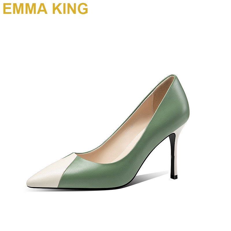2019 Green Beige PU Leather Ladies Pumps Sexy Women High Heels Shoes Pointed Toe Shallow Stiletto Heels Summer Shoes Woman 35-432019 Green Beige PU Leather Ladies Pumps Sexy Women High Heels Shoes Pointed Toe Shallow Stiletto Heels Summer Shoes Woman 35-43